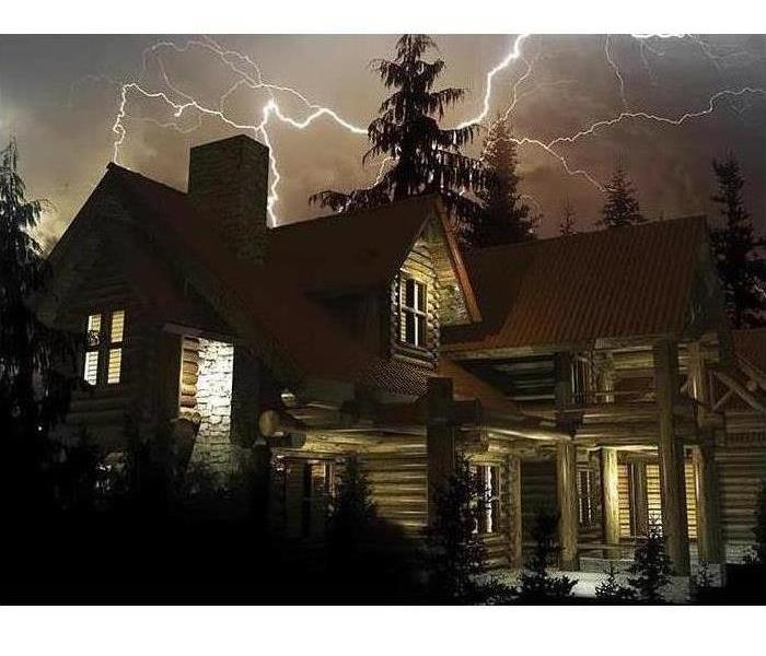 lightning striking house